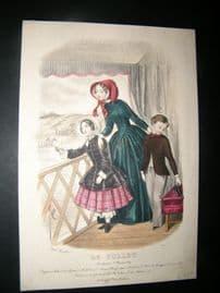 Le Follet C1860's Hand Coloured Fashion Print 1634