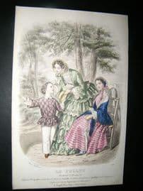 Le Follet C1860's Hand Coloured Fashion Print 1834