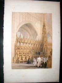 Louis Haghe 1850 Folio Antique Print. Stalls in the Cathedral, Antwerp, Belgium