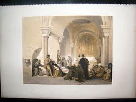 Louis Haghe 1850 LG Antique Print. Chapel of St. Gertrude, Nivelles, Belgium