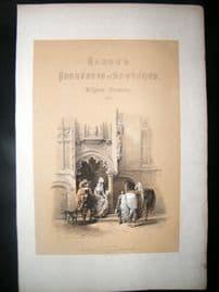 Louis Haghe 1850 LG Antique Print. Illus Title Page. Bruges House, Belgium