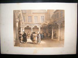 Louis Haghe 1850 LG Folio Antique Print. Ancient Bourse, Antwerp, Belgium