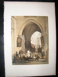 Louis Haghe 1850 LG Folio Antique Print. Church of Herenthals, Belgium