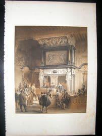 Louis Haghe 1850 LG Folio Antique Print. In the Town Hall, Antwerp, Belgium