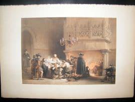 Louis Haghe 1850 LG Folio Antique Print. In the Town Hall, Mons, Belgium