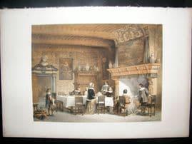 Louis Haghe 1850 LG Folio Antique Print. Private House at Antwerp, Belgium