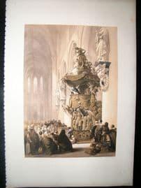 Louis Haghe 1850 LG Folio Antique Print. Pulpit in St. Gudula, Brussels, Belgium