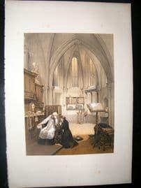 Louis Haghe 1850 LG Folio Antique Print. Sacrisity. Church of Notre Dame, Treves