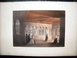 Louis Haghe 1850 LG Folio Print. Cloisters of St. Gertrude, Nivelles, Belgium