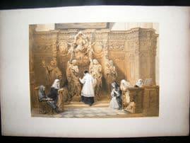 Louis Haghe 1850 LG Folio. Confessional Church of St. Paul, Antwerp, Belgium
