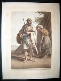 Luigi Mayer 1804 Antique Hand Col Print. A Bedoween Man & Woman, Egypt