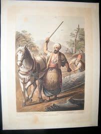 Luigi Mayer 1804 Antique Hand Col Print. Caramanian Woodcutters, Egypt