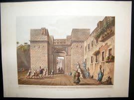Luigi Mayer 1804 Antique Hand Col Print. Gate of Grand Cairo, Egypt