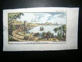 Magdeleine Horthemels 1709 Hand Col Print. Naples. Mola, Castello Nuovo, Italy