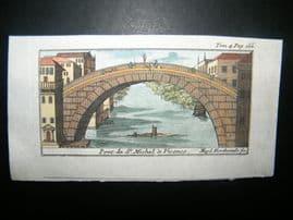 Magdeleine Horthemels 1709 Hand Col Print. Pont St. Michel, Vicence, Vincenza