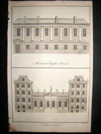 Maitland 1756 Architecture Print, Merchant Taylor's & St. Pauls School, London UK