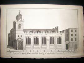 Maitland 1756 Architecture Print, St. Catherine Church, Leadenhall St. London UK