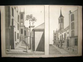 Maitland 1756 Architecture Print, St. Olave Church, Old Jewry. Judaica London UK