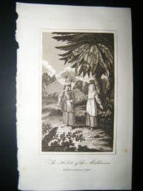 Maldives 1818 Antique Print. Maldivian Costume