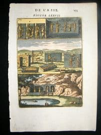 Mallet 1683 Antique Hand Col Print. Persepolis, Persia