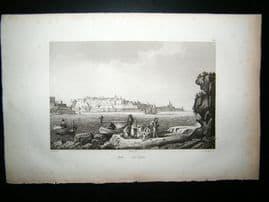 Malta 1835 Antique Print.  Valetta