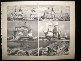Maritime 1857 Antique Print. Sail Ships 27