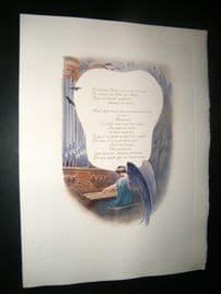 Maurice Leloir & Doucet 1904 Folio Hand Col Print. Angel playing Paino