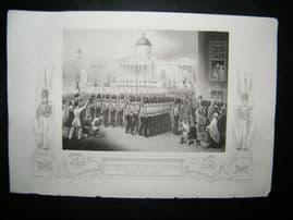 Military 1854 Print. Departure of The Grenadier Guards, Trafalgar Sq., London