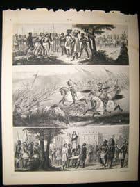Military 1857 Antique Print. Battle Scence etc 14