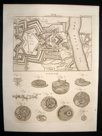 Military C1790 Antique Print. War Plan Fortified Places & Watch Work 537