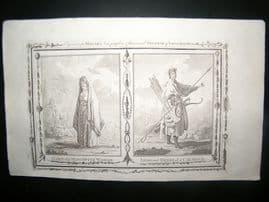Millar 1782 Folio Antique Print. Moscovite Woman & Calmock, Russia
