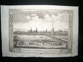 Millar 1782 Folio Antique Print. Perspective Vew of Dresden, Saxony, Germany
