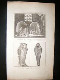 Moore C1782 Folio Antique Print. Egyptian Mummies & Sepulchre