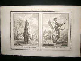 Moore C1782 Folio Antique Print. Moscovite & Calmock Woman. Russia