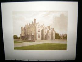 Morris Seats C1870's Antique Print. Acton Beynald Hall, Shrewsbury Shropshire
