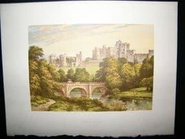 Morris Seats C1870's Antique Print. Alnwick Casle, Alnwick, Northumberland