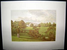 Morris Seats C1870's Antique Print. Ashcombe Park, Leek, staffordshire