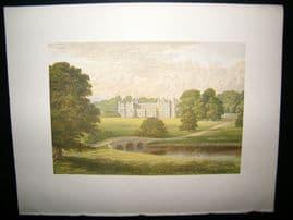 Morris Seats C1870's Antique Print. Audley End, Saffron Walden, Essex