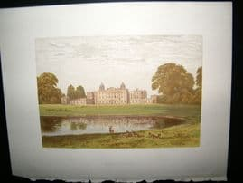 Morris Seats C1870's Antique Print. Badminton House, Tetbury Gloucestershire