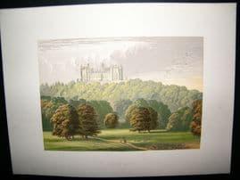 Morris Seats C1870's Antique Print. Belvor Castle, Leicestershire, Grantham
