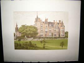Morris Seats C1870's Antique Print. Bestwood Lodge, Nottingham, Nottinghamshire