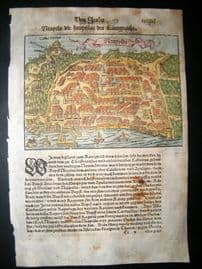 Munster C1570 Antique Hand Col Print. Woodcut view of Naples.