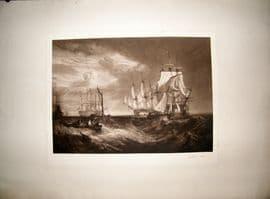 Norman Hirst C1905 LG Folio Mezzotint. Ship Print. Signed by Hirst