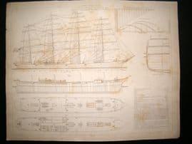 Paris Marine C1890 LG Folio Antique Print. Clipper en fer Palgrave 1888
