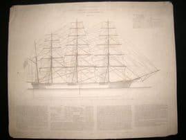 Paris Marine C1890 LG Folio Print. Clipper Great Republic Constructed at Boston