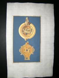Passeri & Menabuoni 1739 Decoractive Hand Col Print. Ancient Oil Lamp #15