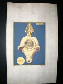 Passeri & Menabuoni 1739 Decoractive Hand Col Print. Ancient Oil Lamp #24