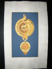 Passeri & Menabuoni 1739 Decoractive Hand Col Print. Ancient Oil Lamp #3-16