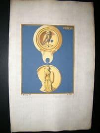 Passeri & Menabuoni 1739 Decoractive Hand Col Print. Ancient Oil Lamp #47