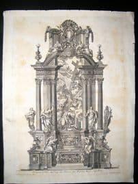 Paul Decker 1711 Antique Folio Baroque Architectural Print. Altar 59